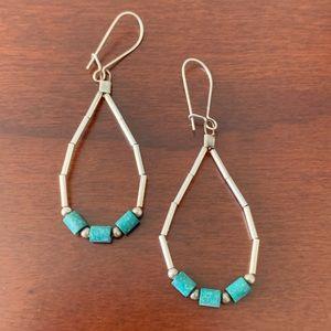 Vintage Sterling Silver & Turquoise Bead Earrings
